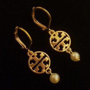 Tory Burch Mini Charm/Pearl Earrings